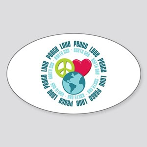 Peace Love Earth Day Oval Sticker